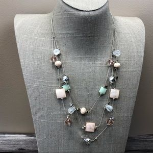 Jewelry - Pink and green pastel beaded multistrand necklace